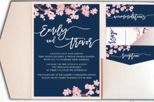 Pocket Wedding Invitation Blush and Navy Cherry Blossoms