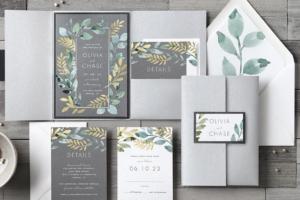 Pocket Wedding Invitations Gray, Gold, and Greenery